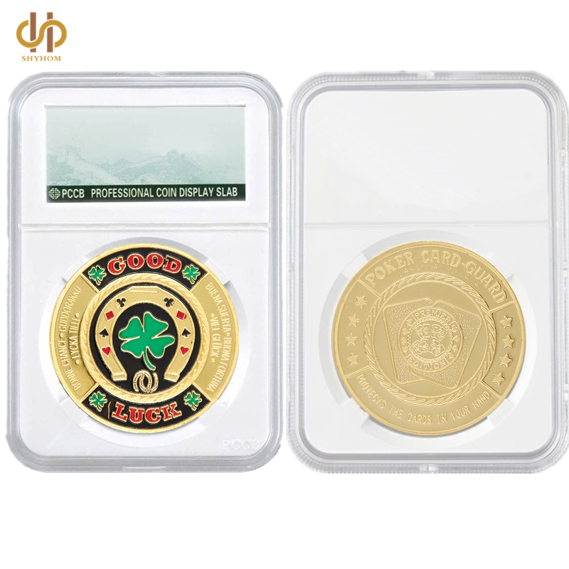 Fashion Poker Card Guard Chips Good Luck Gold Green Clover Challenge Token Coin Collections W/ PCCB Display