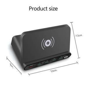 Image 5 - 10 Вт QI Беспроводной Зарядное устройство 6 USB зарядка Док станция с функцией быстрой зарядки 3,0 мобильный телефон планшет быстрой зарядки Настольный Мощность адаптер розеток
