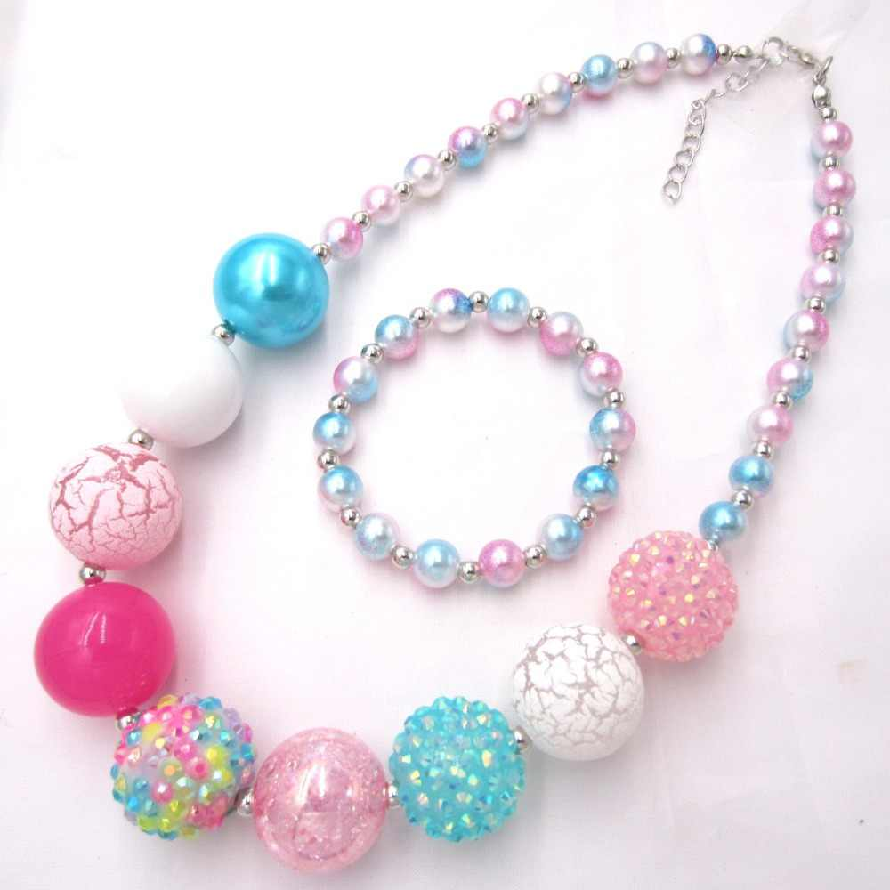 New Model child chunky beads necklaces colorful Toddler Girls Pearl bubblegum necklace Bracelet jewelry set for kids gift 1pcs