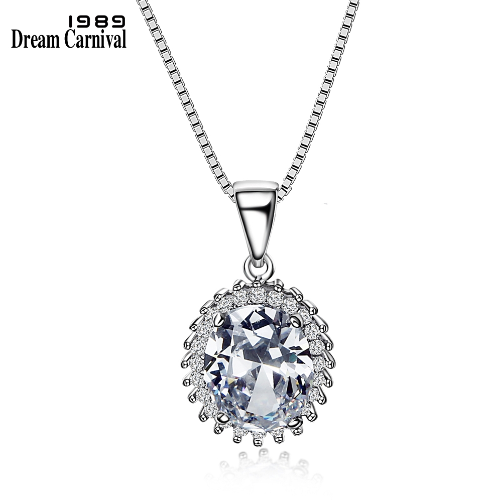 DreamCarnival1989 New 925 Box Chain Sterling Silver Pendant Necklace for Women Trendy Oval Clear Zirconia Collier femme SZ09323R