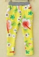 Winter Girl Pants fashion Flower Warmer Leggings Yellow Printed Thicken Elastic Skinny Pants Girl New Year kids clothin Leggings