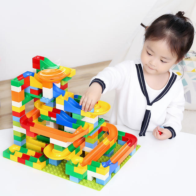 Kitoz Big Size Marble Race Run Maze Ball Track Funnel Slide Building Block Brick Educational Toy Compatible with Lego Duplo 1