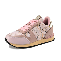 2017 Summer New Girl Pink Running Shoes For Women S Lace Rivet Breathable Sports Shoes Basket