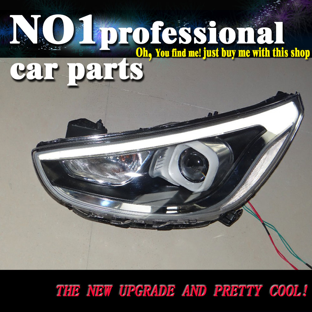 Car Styling 2012-2014 For Hyundai Solaris headlights led  head lamp DRL front Bi-Xenon Lens Double Beam HID KIT