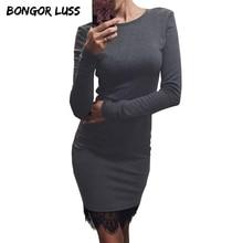 BONGOR LUSS 2017 New Lace Patchwork Women Dress O Neck Casual Bodycon Party Dresses Plus Size Long Sleeve Ladies Dress Vestidos