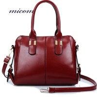 Micom ريترو المرأة حقائب الكتف الأسود النبيذ الأحمر النفط الشمع حقائب جلدية عارضة أعلى مقبض حمل حقيبة الإناث رسول حقيبة السيدات