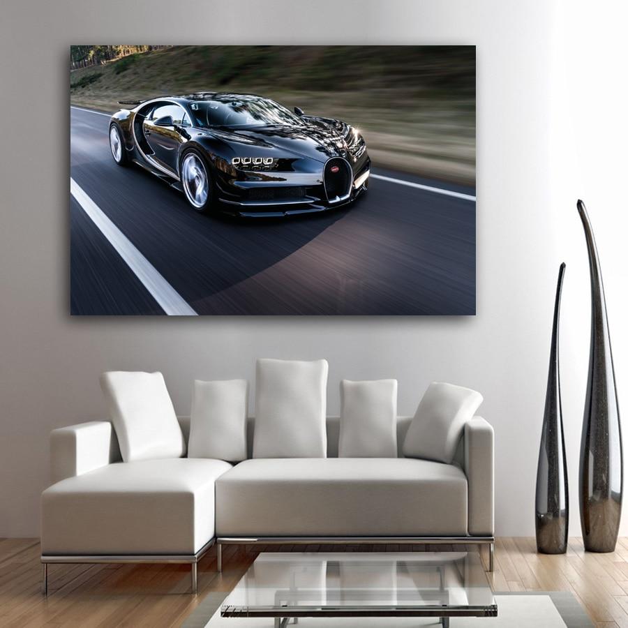 Bugatti Chiron Car Theme Framed Canvas Photo Wall Art Picture Home Decor Poster