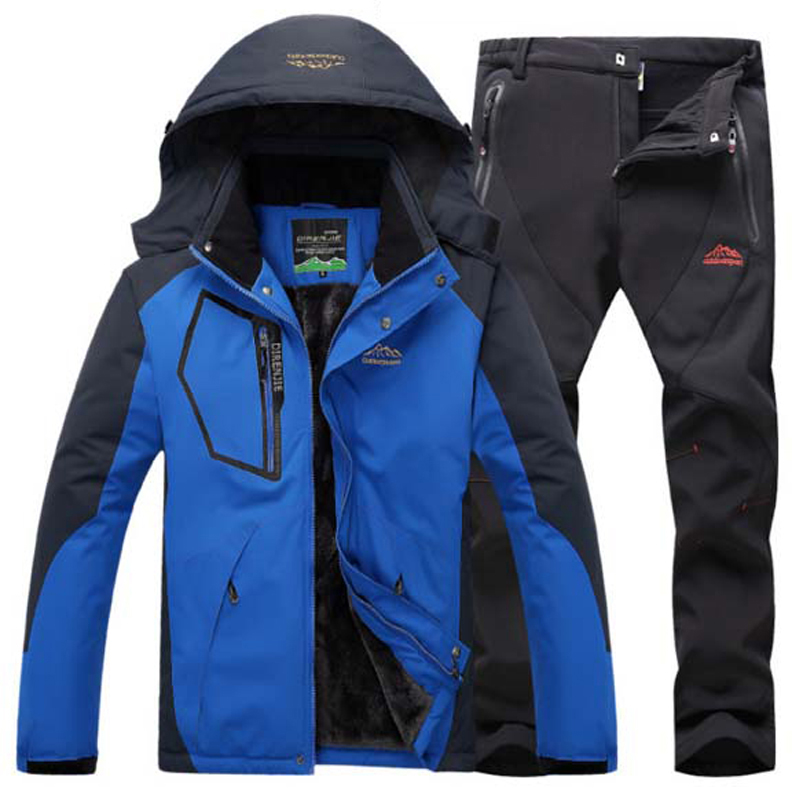 Men Winter Fishing Waterproof Skiing Warm Fur Outdoor Trekking Jacket SoftShell Pant Hiking Climb Camping Travel Suit 5XL S35