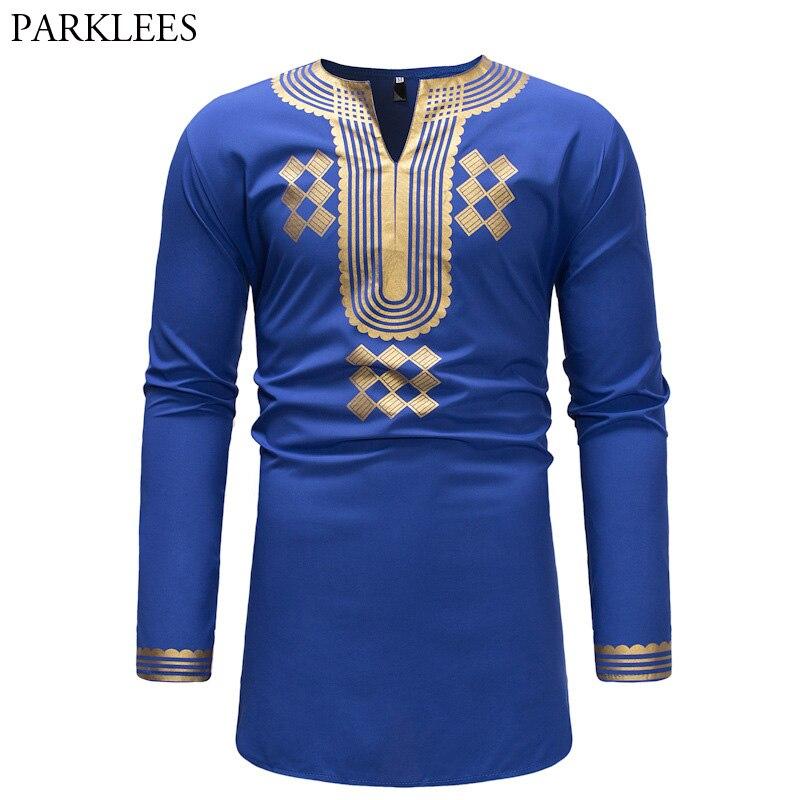 b1682ac8cdc Blue Dashiki T Shirt Men 2018 Brand New African 3D Print Slim Fit Mens  Tshirts Casual