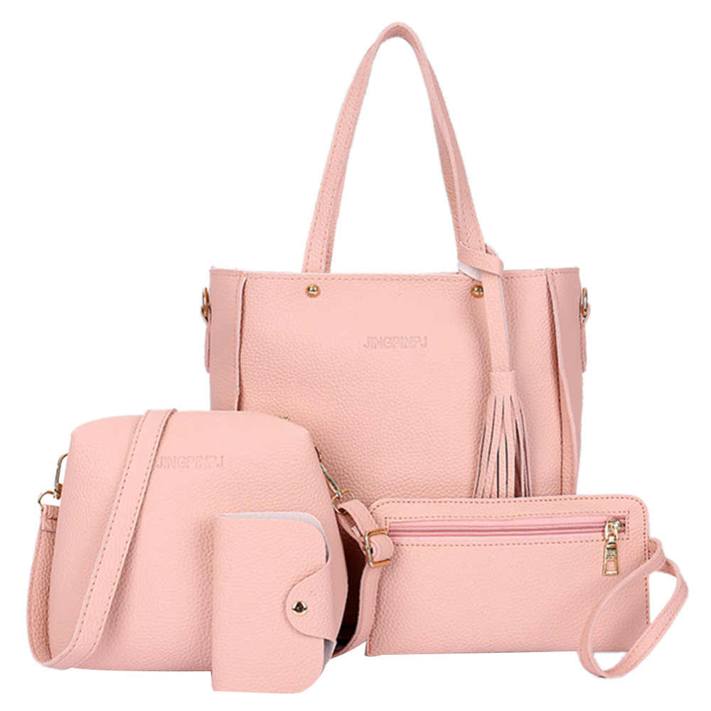 4pcs Set Women Shoulder Bag Set PU Leather Tote Bag Tassels Crossbody Bags  for Women 5366f70979444