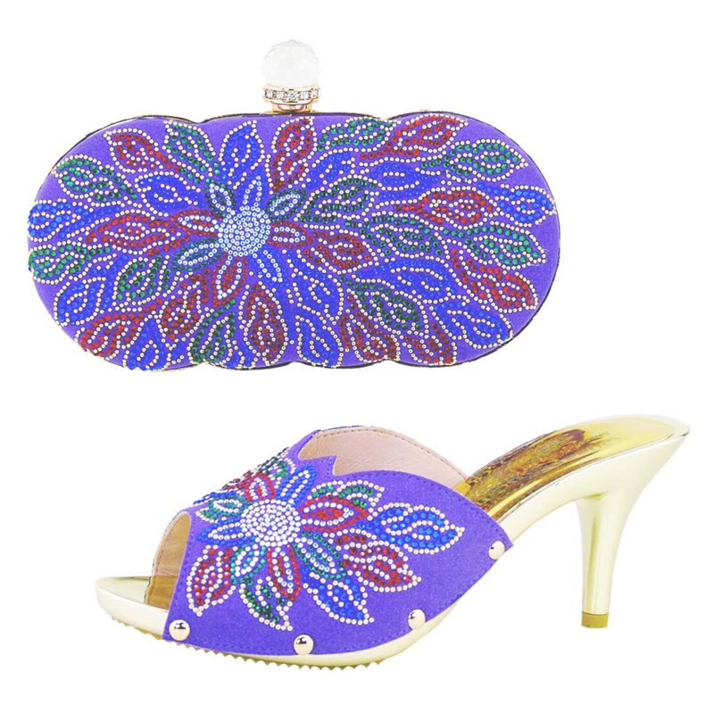 Latest Fashion African Shoes And Bags High Heels Italian Shoes With Matching Bags Set For Wedding Women Sandal HS002