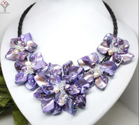 Women Jewelry natural pearl crystal bright purple 5 flowers pendant shell mother of pearl necklace black leather 18