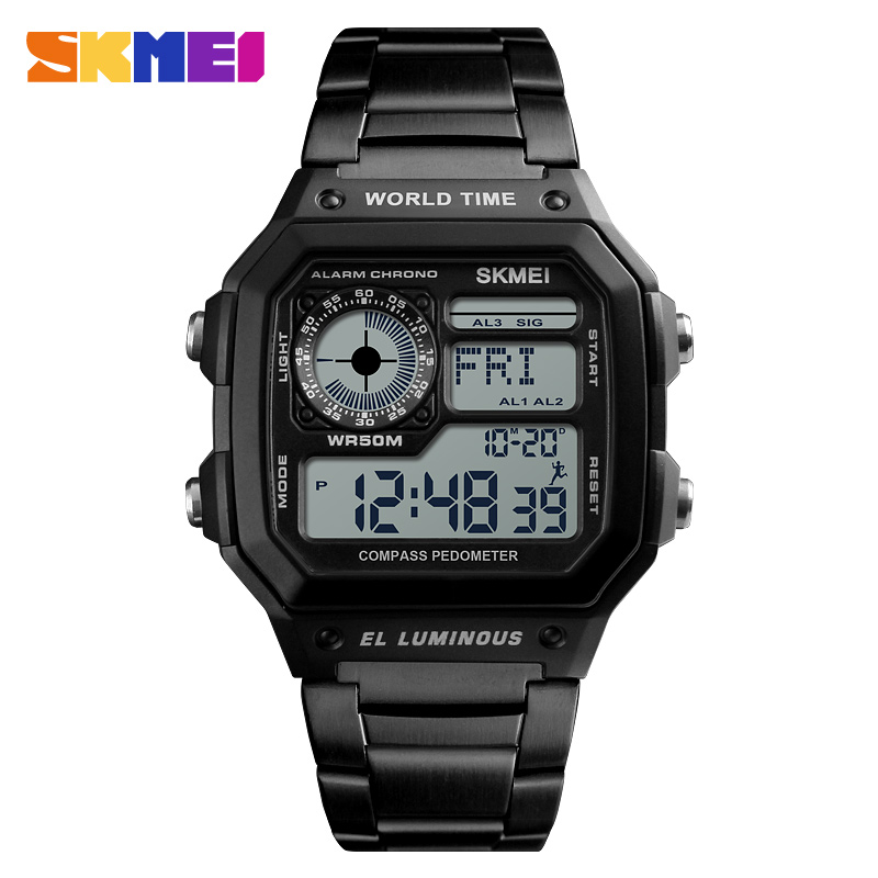 <font><b>SKMEI</b></font> <font><b>1382</b></font> Outdoor Sport Watch Men Compass fitness watch 5Bar Waterproof Watches Stainless Strap Digital Watch reloj hombre image
