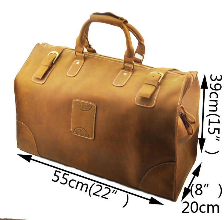 High Quality Mens Genuine Real cowhide Leather Large Duffle Travel Luggage Suitcase Tote Bags A8151