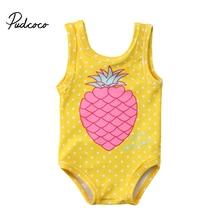 От 1 до 7 лет одежда для купания с принтом ананаса для маленьких девочек; купальный костюм для малышей; пляжная одежда для маленьких девочек; детский летний купальный костюм