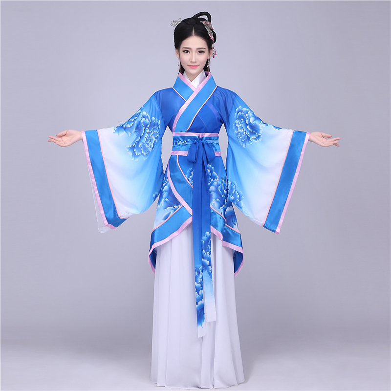 Chinese folk dance costume clothing hanfu ancient fan dance traditional Chinese dance costumes Stage dance wear DD1969