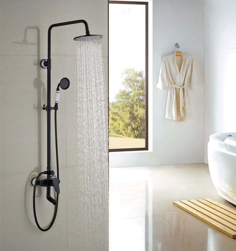 Contemporary Oil Rubbed Broze 8 Shower Sets Ceramic W/Hand Shower Tap Hot&Cold Faucet Round Shower Head