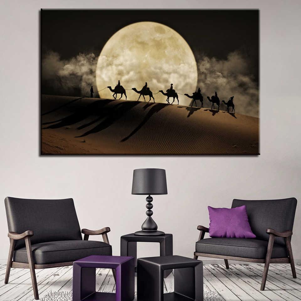 בד אמנות כרזות 1 Piece/Pcs גמל צוות ציורי הדפסי HD מלא ירח במדבר תמונות בית תפאורה סלון לא ממוסגר