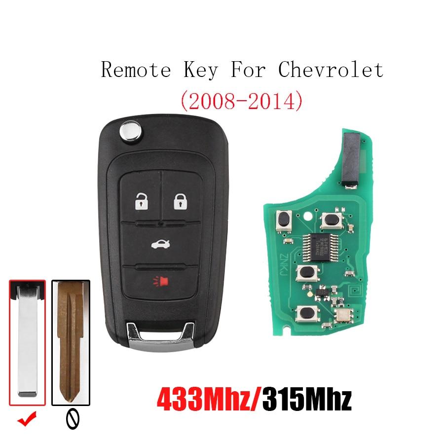 433/315 Mhz 4 Knop Afstandsbediening Auto Sleutel Voor Chevrolet Camaro Cruze Sonic Malibu Sail Aveo Lova Transponder Chip Id46 Originele Sleutel