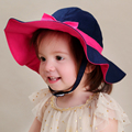 Retail baby & kids girls fashion cute bow trim brim spring summer sun hats children cotton casual beach caps blue play hats
