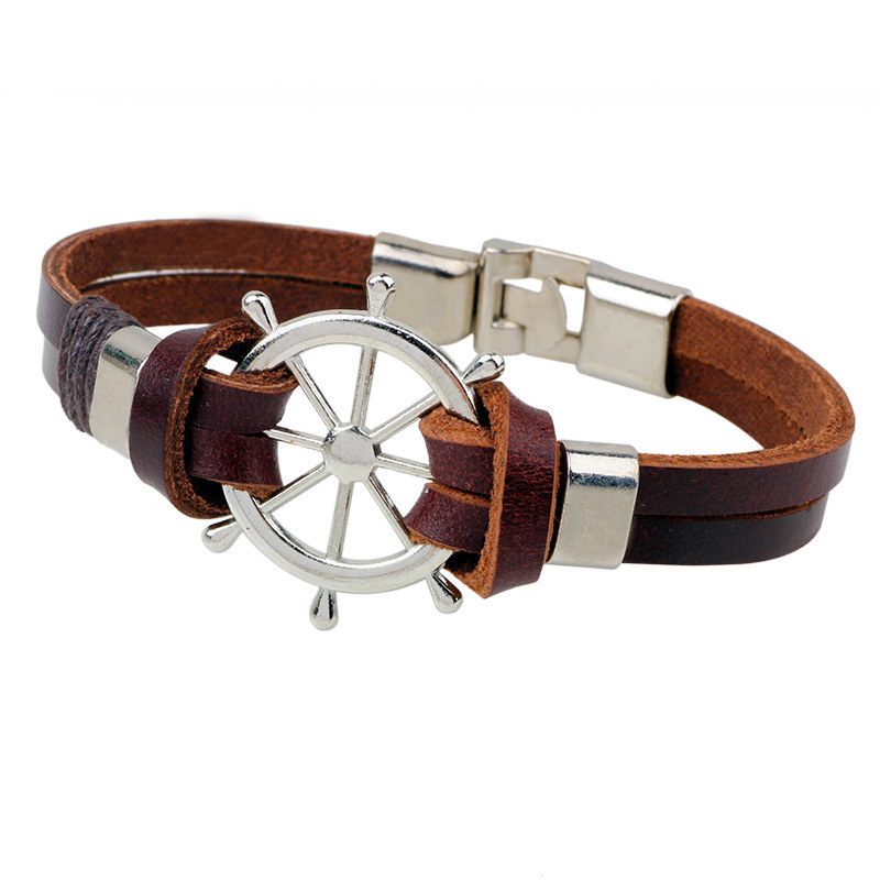 2017 Mens Jewelry Pirate Style Leather Rudder Bracelet Wholesale Cuffs Woven Parcel Bracelets and Bracelets brown Color 23CM