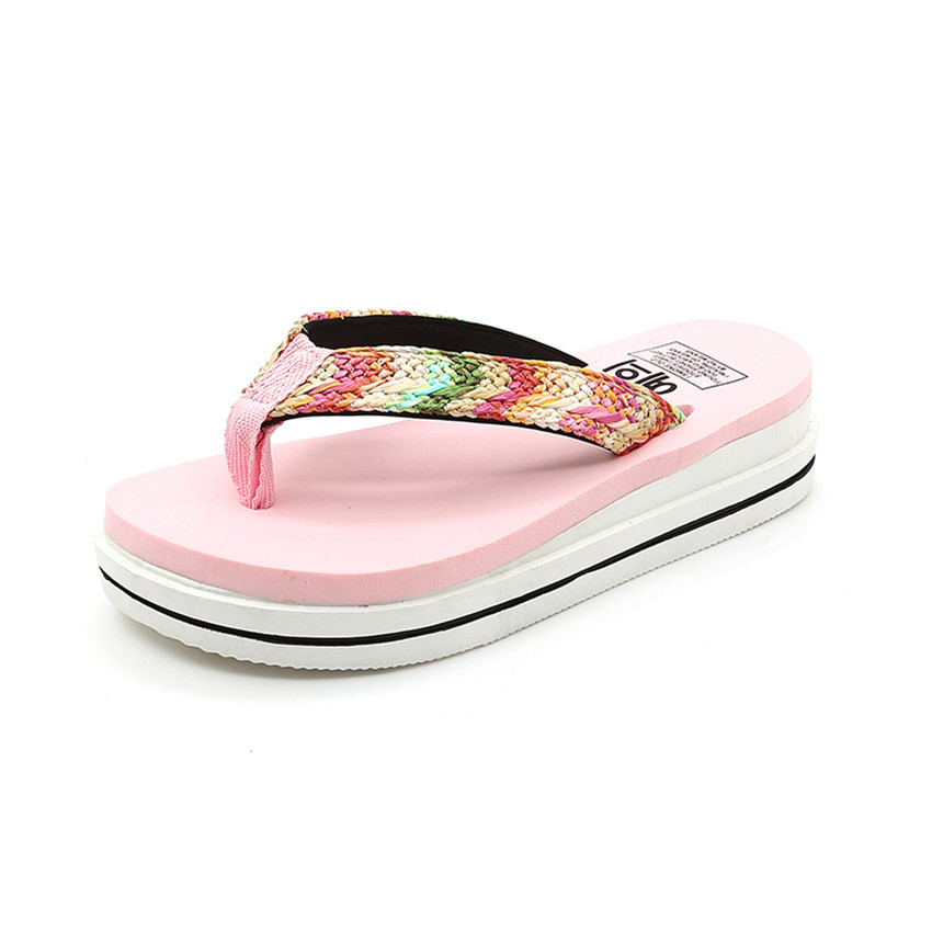 Women Casual Slide Slipper Summer Beach Sandals Striped Flip-Flops Shoe