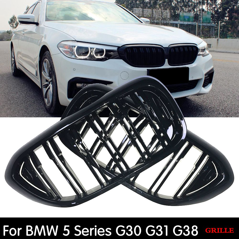 Replacement <font><b>G30</b></font> Front Bumper Grill For <font><b>BMW</b></font> 5 Series <font><b>G30</b></font> G31 G38 520i 530i <font><b>540i</b></font> ABS 2-slat Gloss Black Front Kidney Grille image