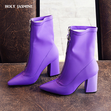 Fashion Ankle Elastic Sock Boots Chunky High Heels square 9 CM Stretch Women 2018 Autumn Sexy Booties Pointed Toe Women martin
