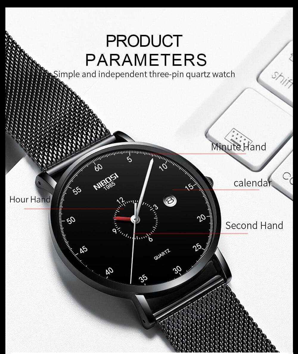 Erkek Kol Saati NIBOSI Men Watch Women Top Brand Luxury 2019 Thin Watches For Men Waterproof Black Wristwatch Female (8)