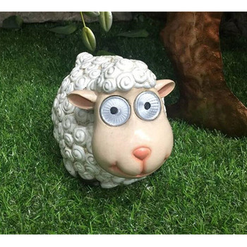 Courtyard Outdoor Garden Decoration Ornaments Simulation Animal Little Sheep Solar Lamp Garden Sculpture Resin Ornaments M1718