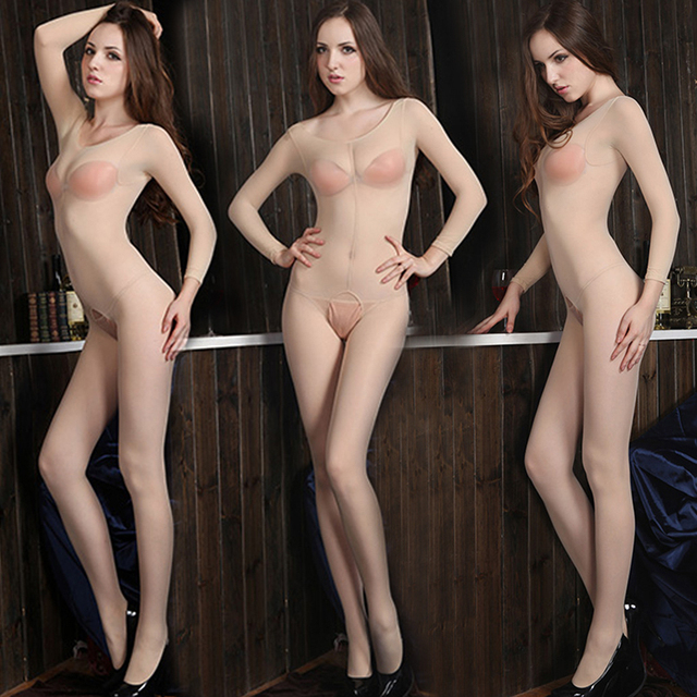 free shipping Free shipping sexy one-piece coveralls stockings stockings open file round neck long-sleeved bottoming dance dedic