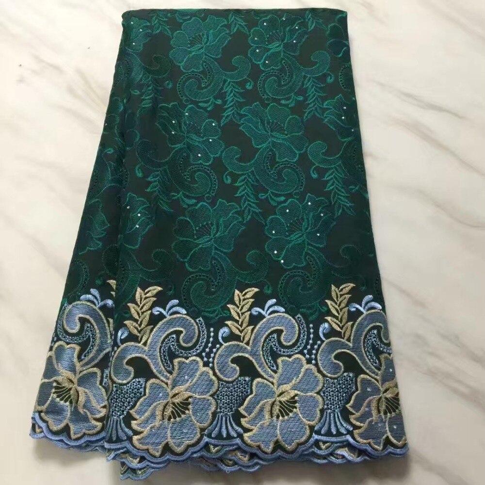 Dentelle africaine tissu 5yds/pce dhl suisse Voile lacets suisse vert africain pierres coton femmes de luxe robe 2019 nouveaux designs