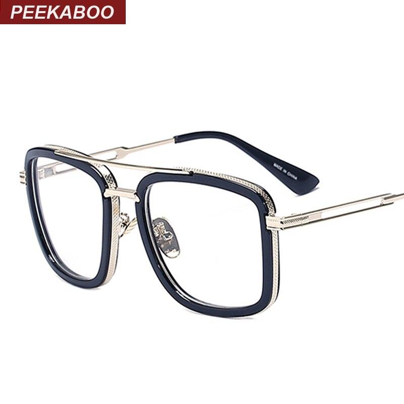 peekaboo wholesale brand designer big square glasses frames for men luxury fashion large frame eyeglasses men
