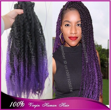 Stock! 20inch folded black\/purple two tone color synthetic