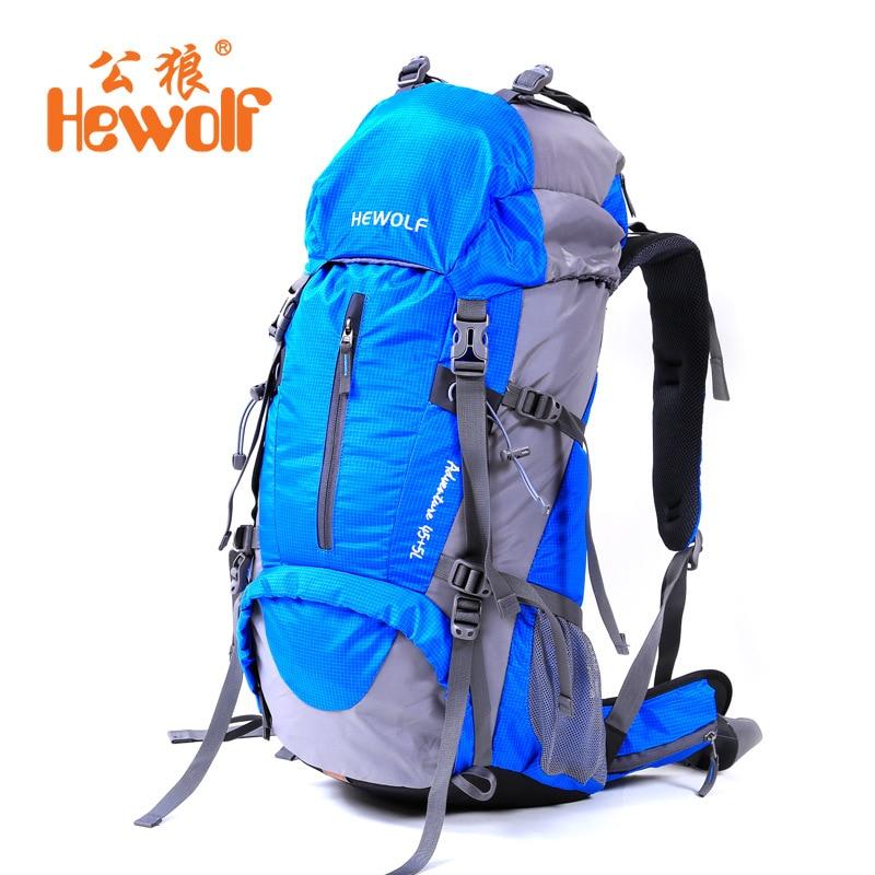 Hewolf 2017 nouveau plein air alpinisme grande capacité étanche 50L sac à dos hommes et femmes voyage loisirs sac à dos couverture de pluie