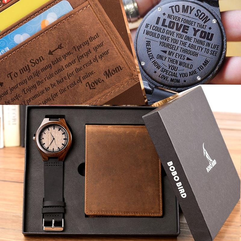Reloj de madera personalizado para hombre, bobird, reloj de madera y billetera para grabar mensajes, regalos increíbles-in Relojes de cuarzo from Relojes de pulsera    1