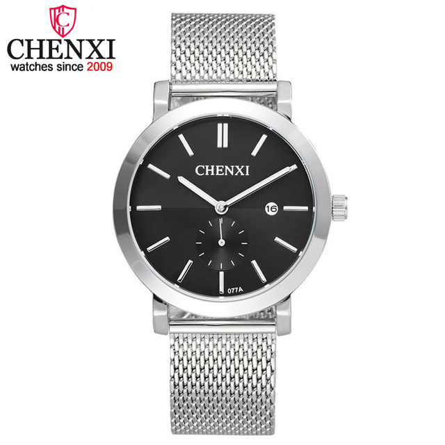 CHENXI Brand Men New Stainless Steel Mesh Belt Watch Date Display Quartz Men's Watches Male 30m Waterproof Wristwatch