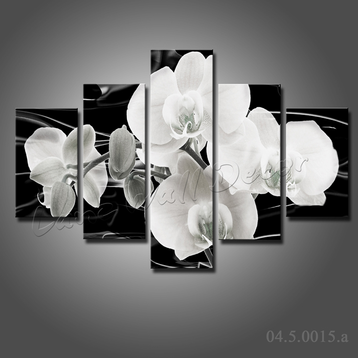 No wooden frame gift art canvas painting Black and white flowers ...