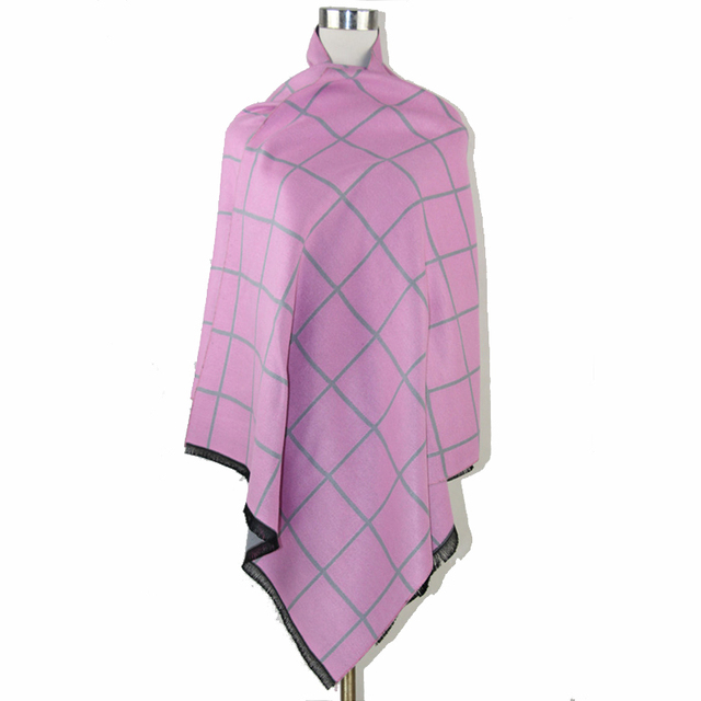 Pink Winter Thick Reversible Plaid Cashmere Pashmina Long Cape Poncho Women Two-side Shawl Scarf Stole 185*65 cm C077