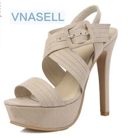 2016 New Platform Sandals Buckle Fashion Sexy High Heel Summer Lady Women Summer Style Sandals Size30
