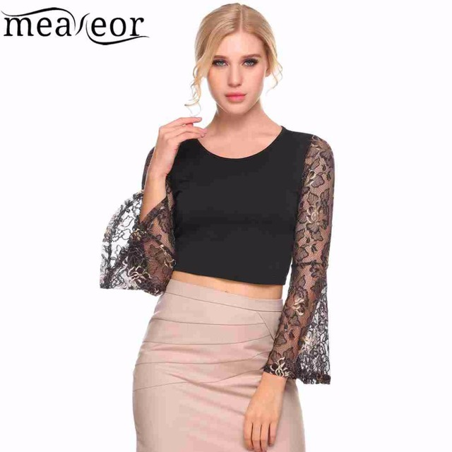 47fbf0e36e5ca Meaneor Apparel Summer Style Elegant Lace Crochet Crop Top Girls Lace Long  Sleeve Patchwork Women Sexy