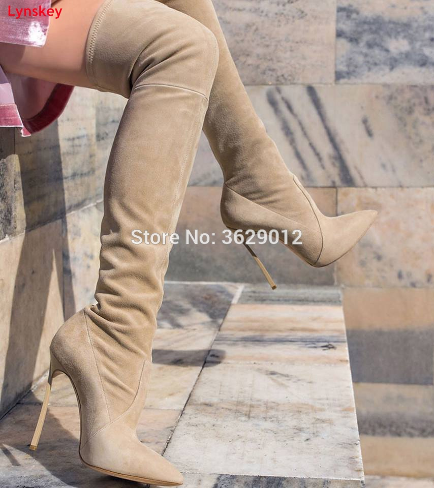 Lynskey Autumn Women Boots Stretch Slim Thigh High Boots Fashion Over the Knee Boots High Heels Shoes Woman yougolun women nubuck thigh high boots ladies autumn winter boots woman over the knee boots women 2017 square high heels shoes