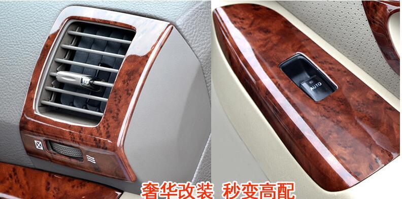 De luxe En Bois Chrome Pour TOYOTA Prado 2003-2009 Voiture Intérieur Décoratif Cadre capots de bordure Car Styling Auto Accessoires