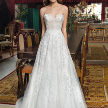 Loverxu Wedding Dress Sleeveless Bride Dress Sweep Train