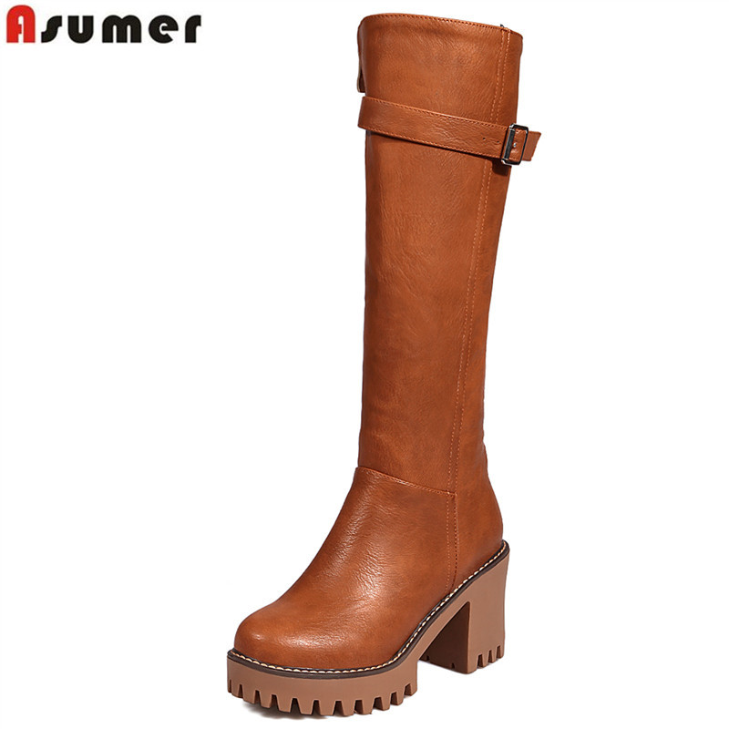 ASUMER Winter Boots Buckle Shoes Toe-Zip-Platform Knee High-Heels Autumn Big-Size Women