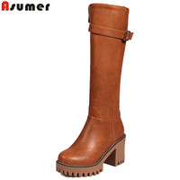 ASUMER big size 34 43 autumn winter boots women round toe zip platform high heels shoes buckle knee high boots women 2019 new