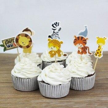 24 Pz/lotto Safari Cake Toppers Partito Cupcake Decorazione dei Regali Del Partito per I Bambini Compleanno Forniture Baby Shower Torta Inserti Carte
