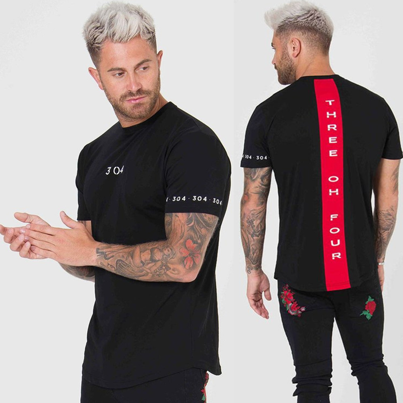 Men Cotton Short sleeve t shirt Fitness Slim Patchwork Black T-shirt Male Brand Gyms Tees Tops Summer Fashion Casual clothing