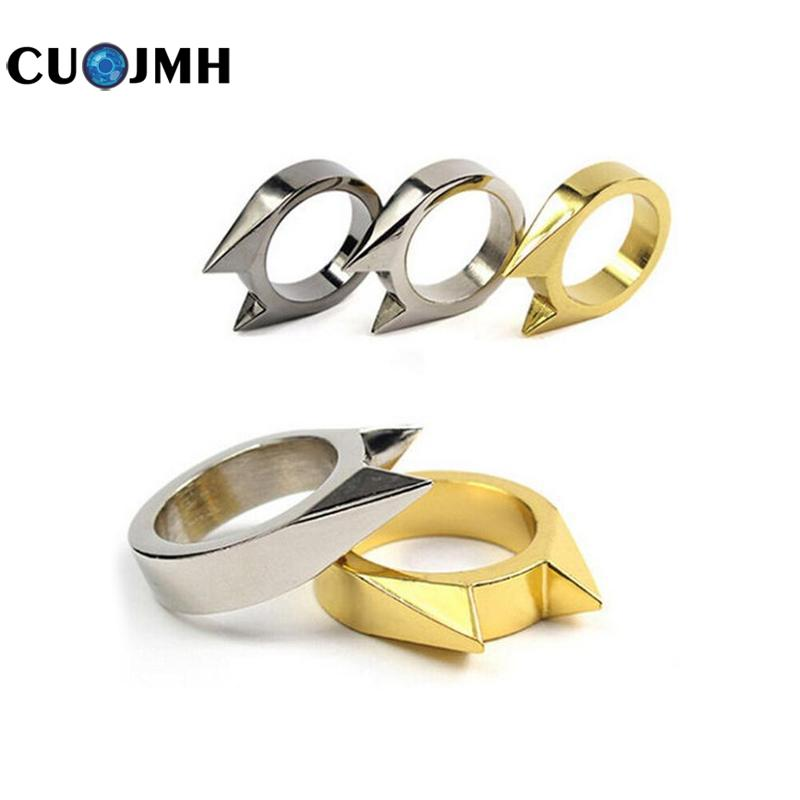 1 Pcs Cat Ear Self-defense Ring Stainless Steel Safety Survival Edc Tool Defensive Ring 3colors Women Men Self-defense Ring 10pcs stainless steel self defense product shocker weapons ring survival ring tool pocket women self defense ring 4 colors