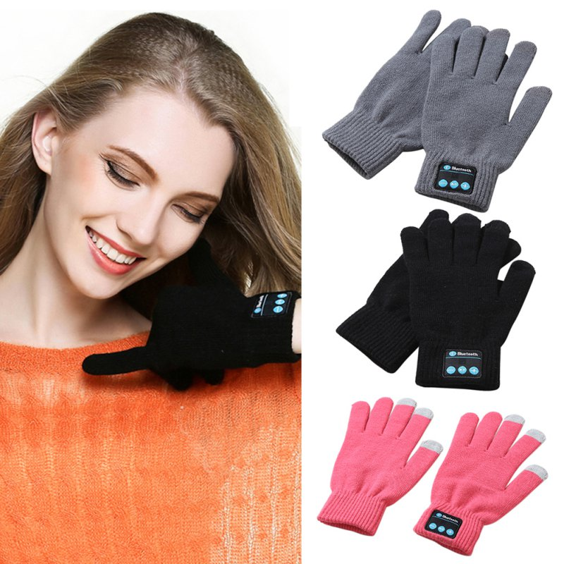 Unisex Bluetooth Gloves Women Men Winter Knit Warm Mittens Call Talking Touch Screen Gloves Mobile Phone Pad